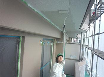 軒天 透湿塗料塗り