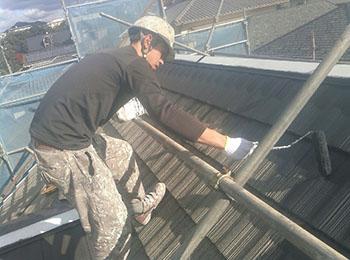 屋根 上塗り2回