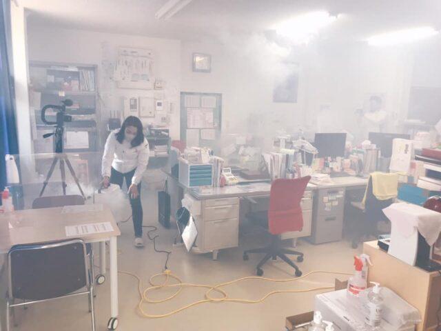 職員室のバクタクリーン除菌コーティング