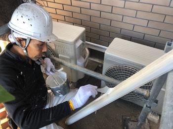 エアコン配管カバー塗装