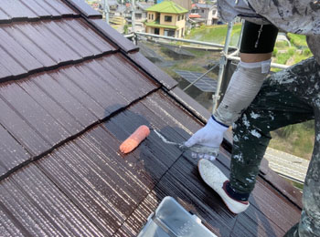 屋根クリアー塗装